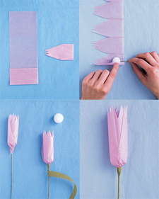 Crafted bouquet martha stewart weddings cut a 16 by 3 12 inch strip of tissue paper make 2 inch wide accordion folds make 3 inch deep snips in tissue to create fringe wrap unfringed end around mightylinksfo