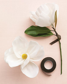 Big blooms on a small budget martha stewart weddings fasten short piece of magnolia branch to craspedia stem with brown floral tape stretch petals into cupped shapes maxwellsz